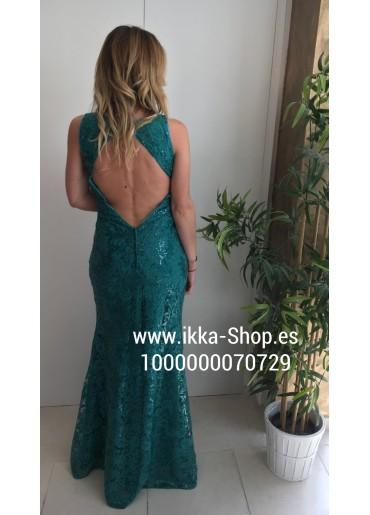 Vestido largo de fiesta espalda descubierta turquesa