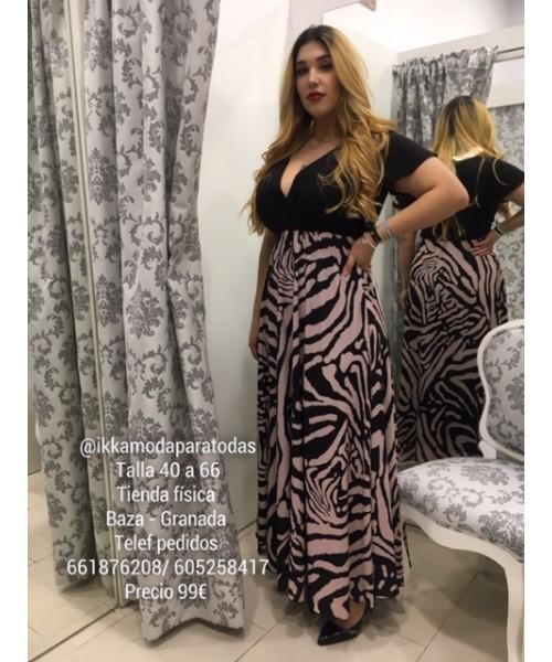 Negro Shop Combinado Vestido Largo Cebra Spg Ikka F1JKlc