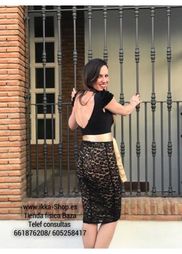 Falda Cayma Encaje Negro