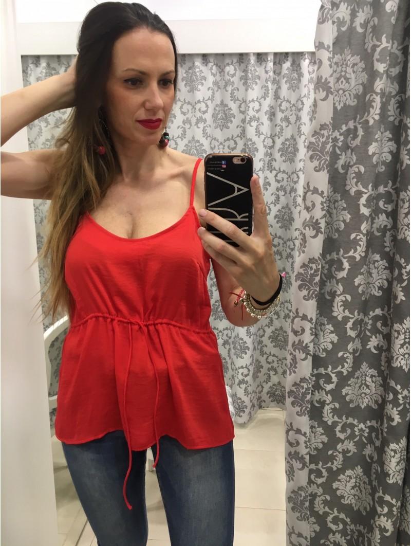 Blusa Tirantes Cordón Noisy May Roja